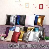 Wholesale Fashion Sequins Cushion Cover Pillow slip Mermaid Pillow case Cover Home Sofa Car Décor Magic Pillow Cover colors cm B0862