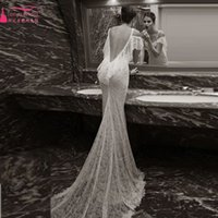 Wholesale Backless Mermaid Wedding Dresses Beach Bridal gowns Amazing Lace Bohemian Vestido de noiva vintage wedding Gowns