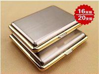 Nueva llegada de ultra-delgada de acero inoxidable pitillera de plata material de oro caja de estilo de dibujo de alambre de metal de cigarrillos 5pcs / lot