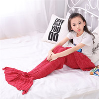 Wholesale Free DHL140 cm Kid knitted Mermaid Tail blanket handmade crochet mermaid blanket throw bed Wrap super soft sleeping bag