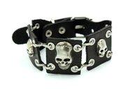 Wholesale Men s Genuine Leather Skull Bracelets Rock Punk Skeleton Charms Cuff Bracelet Bangles Casual Jewelry