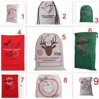 Wholesale Hottest Large Canvas Monogrammable Santa Claus Drawstring Bag With Reindeers Monogramable Christmas Gifts Sack Bags