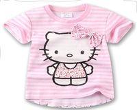 baby sweat shirts - 2016 pretty bows girls summer clothes years children cartoon short sleeve sweat baby cotton T shirt A35