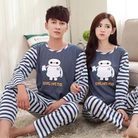 Wholesale Long Sleeve Round Neck Pajama Sets Women And Men Sleepwear Cartoon XIAOBAI Pajamas Blue and White Striped Tops and Bottoms LP10