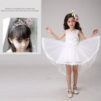 Wholesale Flower Girl Dresses Kids Ball Gowns High and Low Wedding Dresses Princess Skirt with Shoulder Straps Vest Skirt With Crown Hairpin