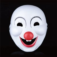 clown nose - Halloween Plastic Clown Mask with Red Nose Cosplay Plastic Mask Costume Full Face Masquerade Funny Mask for Adult Mask