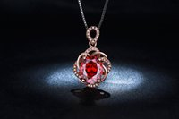 big red diamond - MDEAN Rose gold plated necklace big Red AAA Zircon CZ diamond Wedding Luxury Pendant Necklaces Fashion jewelry for Women MSN010