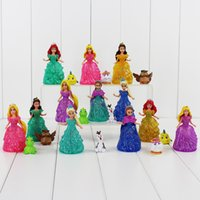belle clothes - FROZEN Princess Figure Dolls Princess Elsa Anna Aurora Rapunzel Ariel Belle PVC Action Figures Toys Clothes Changeable cm Set