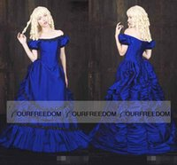 art cosplay - Royal Blue Taffeta Long Gothic Evening Dresses Off The Shoulder Ruched Tiered Skirts Halloween Cosplay Costume Occasion Prom Party Dresses