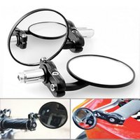 Wholesale 1 Pair Motorcycle Round quot Handle Bar End Foldable motorbike Rear View Side Mirrors For Suzuki for Kawasaki for Honda