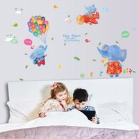 applying self adhesive vinyl - Flying elephants and colorful balloon Kids DIY decorative wall stickers removable easy to apply CM size self adhesive vinyl sticker