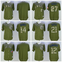 Baseball angels games - Game Chicago Cubs Kyle Schwarber Green Salute to Service Flexbase Baseball Jerseys Los Angeles Angels Mike Trout Ernie Banks