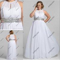 big beach - 2016 Cheaper Women Long Dress Plus Size Gown White Chiffon Dresses Beaded Waist Simply Outsize Big Women Wedding Dresses for Bridal