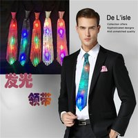 Wholesale LED light Neck Ties New Fashion Men Tie Polyester flash of lightning Neck Ties Bar party dress up Holiday prop Luminous toy F364
