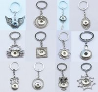 Wholesale 30pcs Mix designs fashion rhinestone noosa chunks metal ginger snap button key chains fit mm button snaps keyring for women jewelry