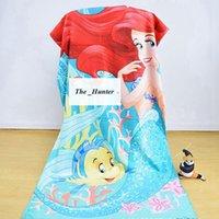 Wholesale Kids Mermaid Towels Cotton Mermaid Tail Towel Princess Bikini Beach Towels Baby Bath Towels Bathroom Swim Towels Robes Cloak B172