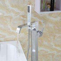 Wholesale PHASAT Waterfall Floor Standing Bathtub Faucet With Hand Shower Chrome Brass Fixed Support Type Faucet
