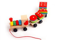 baby stacking blocks - Todder Block Muliticolor Toy Educational Kids Baby Wooden Solid Intellect Small Train Wood Stacking Gift PC
