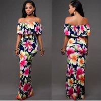 Wholesale 2016 summer floral print maxi dress sexy slash neck ruffles bodycon dress off the shoulder plus size casual women long dress