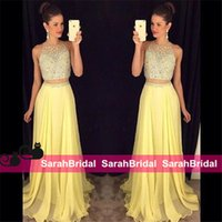 bead shop sale - Shop Light Yellow Chiffon Prom Dresses Online for Sweet Juniors Teenagers Dancing Formal Wear Beads Maxi Evening Party Gowns Sale