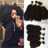 Wholesale Interlove hair bulk Mongolian Kinky Curly human hair bulk extension human hair for braiding bulk no attachment