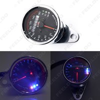 Wholesale 12v High quality of Universal Motorcycle LED Dual Odometer Test Miles Speedometer Gauge Easy to install