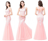 baby beach pictures - Baby Pink Mermaid Prom Dresses Real Image Sheer Crew Neck with Lace Appliques Long Formal Evening Gowns Red Carpet Dresses CPS360