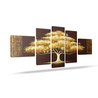 Wholesale 5 Panels Hand Paint Golden Tree Oil Painting With Frame Inside Canvas Wall Art Decoration Money Tree Painting