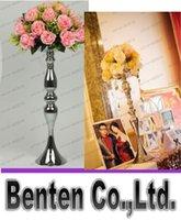 Wholesale Wedding master table candlestick silver wedding road lead Flower Metal Vase Wedding Centerpiece cm height LLFA304