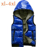 Wholesale Male Men Down Vest Hooded Winter Waistcoat Big Size Outwear Outdoor Coats Cotton Padded Jacket XL XXL XL XL New Arrival