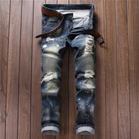acid washed pants - New Fashion Men s Distressed Jeans With Holes Acid Washed Vintage Casual Denim Pants Ripped Jeans For Men Mens Levi Jeans