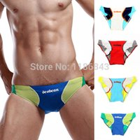 Cheap Wholesale-Mens Color Matched Swimwear Nylon Low Rise Swim Briefs Briefs Underwear 4 Colors Drop Shipping Free Shipping