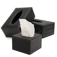 best car tissue holder - The Best Quality Black European PU Leather Magnetic Tissue Paper Box Holder Case Home Car Office