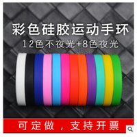 Wholesale Silicone Glow Bracelet wrist strap movement Jelly Glow identification with hand lettering printed multicolor bracelet luminous color
