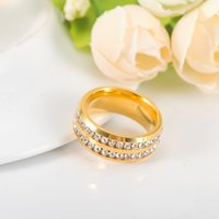 Wholesale 2016 New Trendy Austral Crystal Rings K Gold Plated Stainless Steel Ring Wedding Cocktail Jewelry Anel For Women