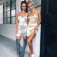 Wholesale 2016 Summer Women Sexy Deep V Neck Back Criss Cross Choker Neck Silk Satin Slip Dress A Line Shinning Party Dresses Vestidos