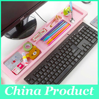 Wholesale Creative Plactic desktop storage rack computer display bracket keyboard desktop finishing rack shelf Storage Holders Support