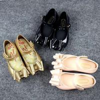 ballet patterns - Mini Melissa Shoes Mel Ultragirl Sweet Ballet Flat Sandals Children Girls Party Bow Shoes Gold Color Little Kid