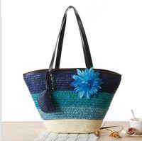 beach style pillows - Knitted Straw bag Summer flower Bohemia fashion women s handbags color stripes shoulder bags beach bag big tote bags