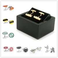 Wholesale New Fashion pair Cufflink Superman Star Wars Batman spiderman Cufflinks Fathers Day Retro Gifts For Mens Jewelry Adult Cuff Links B0526