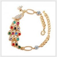 Wholesale The peacock Love in the wrist Noble and elegant Romantic valentine s fashionable colorful peacocks bracelet