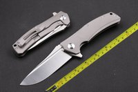 Wholesale All CNC D2 Blade Titanium alloy Handle camping Outdoor Folding knife DF78alloy Handle camping Outdoor Folding knife DF78
