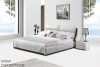 leather furniture - GENUINE LEATHER BED ELEGANT STYLE GREY MODERN SIMPLE DOUBLE PERSON FASION FURNITURE GOOD QUALITY cm AFA986