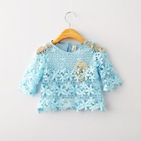 Girl Summer  2016 Spring New children princess tops girls lace hollow three quarter sleeve shirt kids lace outwear pullover baby girls clothing
