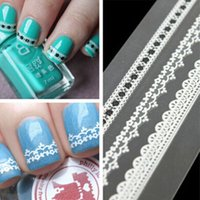 Wholesale 3D Nail Art Sticker Designs Elegant White Black Pink Lace Style Self Adhesive Nail Decoration