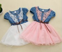 american cowboys - 2016 New Girls Denim Tutu Dresses Summer Children Short Sleeve Flower Lace Blet Cowboy Net Yarn Casual Dress In Stock MC0112