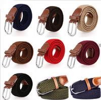 50PCS vendedor caliente para mujer para hombre de la lona Llanura correas hebilla de metal tejido de la correa de cintura del estiramiento Cinturones trenzados de lona