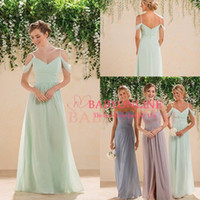 Cheap 2016 Sage Lime Green Off Shoulders Chiffon Bridesmaid Dresses V-neck Ruched Backless Long Courty Style Cheap Boho Maid of the Honor Dresses