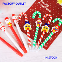 Wholesale 2016 New Christmas Pens Cute Santa Claus Snowman Snowhouse Crutch Pens Christmas Decorations Ball Pens Gift