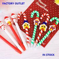 Wholesale 2016 New Christmas Pens Cute Santa Claus Snowman Snowhouse Crutch Pens Christmas Decorations Ball Pens Gift